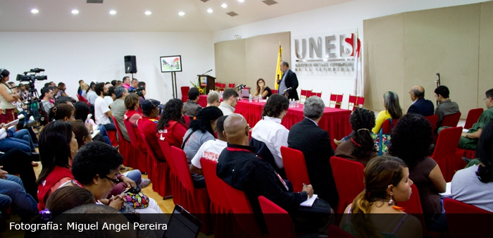 """The Left and Public Security Policy"" conference took place in Venezuela's National Experimental University of Security (Unes) this week (Migual Angel Pereira)."