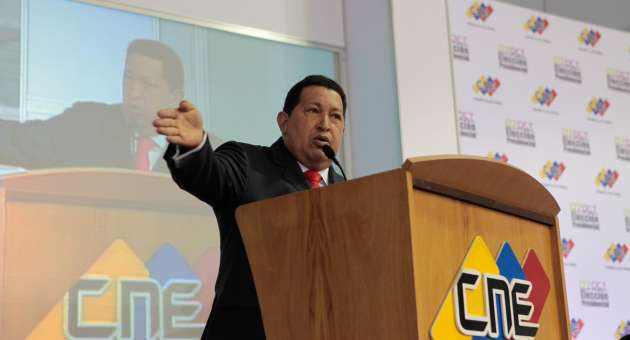 Chavez made the speech in an act with the CNE on Wednesday evening (AVN).