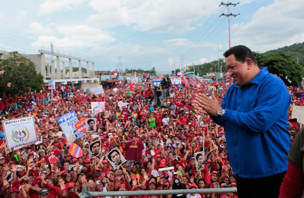 Hugo Chavez at a campaign march in Yaracuy on Tuesday (VTV)
