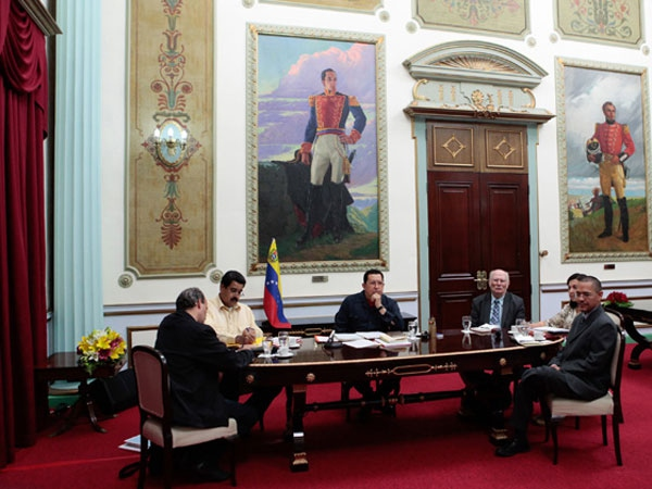 Venezuelan President Hugo Chavez with members of his cabinet on Monday.