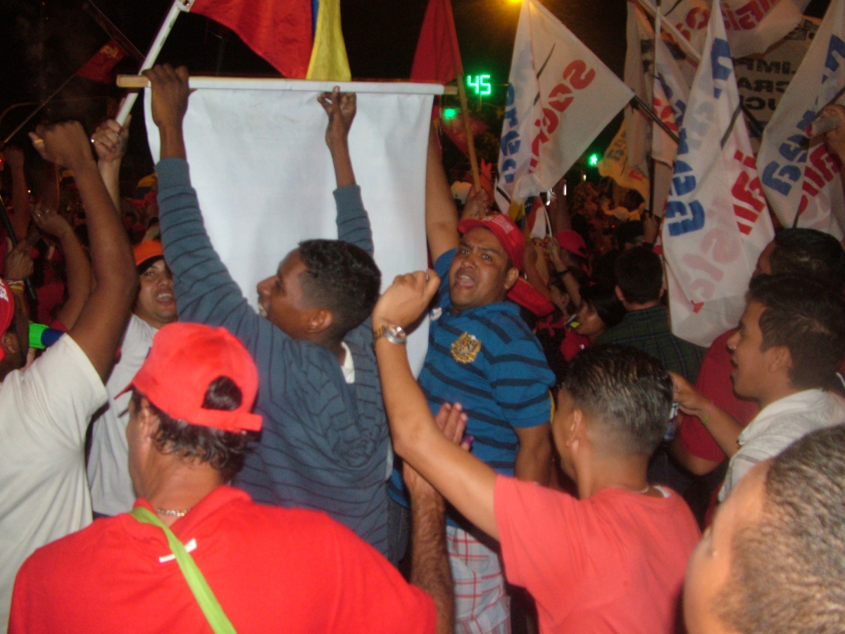 Members of Marea Socialista (Socialist Tide) celebrating Chavez's win on 7 October (Tamara Pearson/ Venezuelanalysis.com)