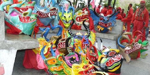 Part of a Devils mask exhibition (Prensa Gobernacion)