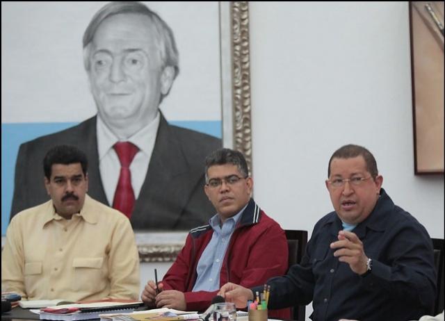 Left to right: Nicolas Maduro, Elias Jaua, and president Hugo Chavez (Prensa Presidencial)