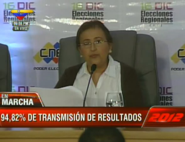 The president of the National Electoral Council, Tibisay Lucena, announced the results (VTV)