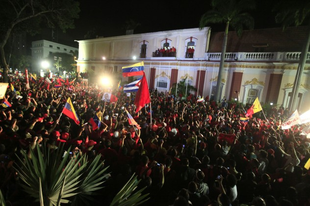 The celebrations outside Miraflores presidential palace after Chavez's re-election on 7 October (Albaciudad)