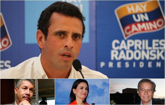 Henrique Capriles (top), Lara Governor Henri Falcon (left), Maria Corina Machado (center), Diego Arria (right)  (Photo: Noticias24)