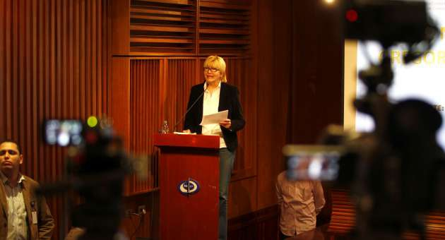 Attorney General Luisa Ortega talking to the press on Saturday (AVN)