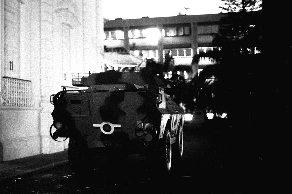 An armoured car on the streets of Caracas (National Library)