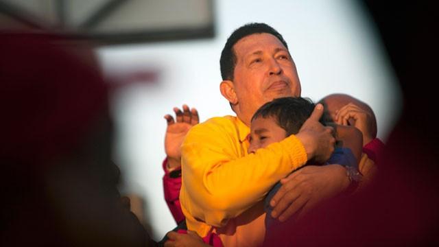 Venezuela's President Hugo Chavez during a campaign rally in Guarenas, Venezuela, Saturday, Sept. 29, 2012. (Rodrigo Abd/AP Photo)