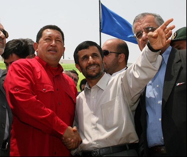 President Hugo Chavez (left) with President Mahmoud Ahmadinejad (centre) (archive).