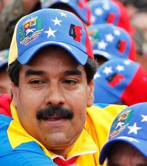 VP Maduro wearing tricolor cap (Carlos Garcia Rawlins/Reuters)