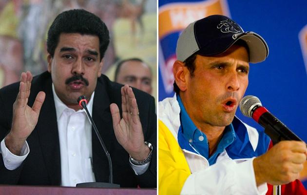 Presidential candidates Nicolás Maduro (left) and Henrique Capriles (right)  (Noticias 24)
