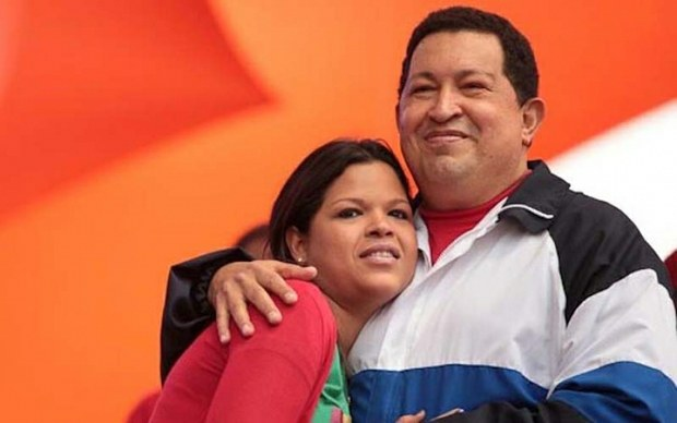 Hugo Chavez (left) with his daughter Maria Gabriela Chavez Colmenares (agencies)