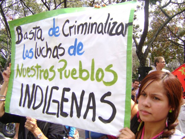 "A protest on 3 March this year, the banner reads ""Enough of criminalising the struggle of our indigenous peoples"" (Provea)"