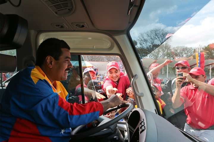 Nicolas Maduro drove a bus to the National Electoral Council to register his candidacy for president. (Agencies)