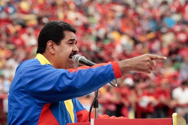 Interim President Nicolas Maduro at a political event in Barinas on Saturday (Prensa Miraflores)