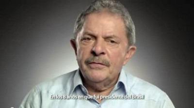 A screen shot from Luiz Lula da Silva's video message