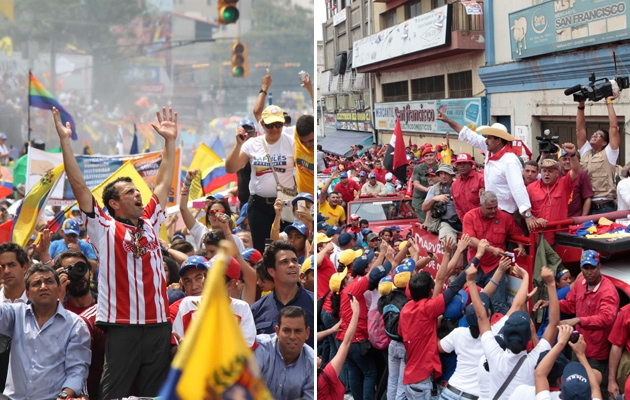 Capriles (left) and Maduro (right) campaigning (Noticias24)