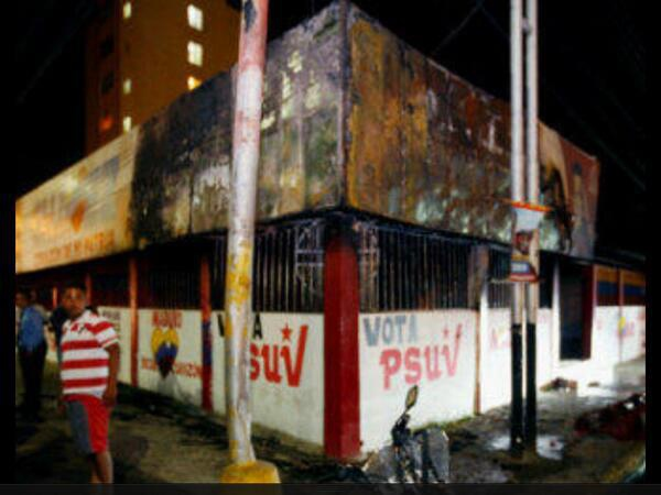 A PSUV office in Anzoategui after it was burnt last night (activist networks).