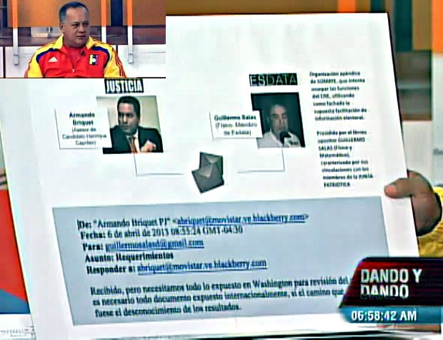 "Cabello presenting the ""evidence"" on public television this morning (VTV)"