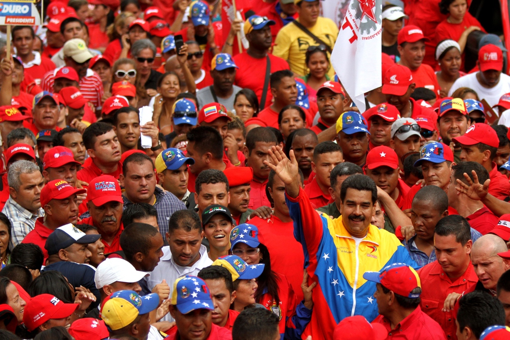 President Nicolas Maduro in the pro-government May Day march in Caracas today (AVN)