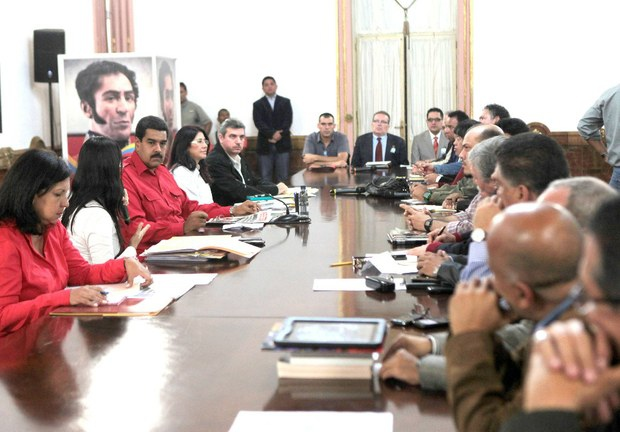 The meeting between President Maduro and the national political council of the GPP late last night (AVN)