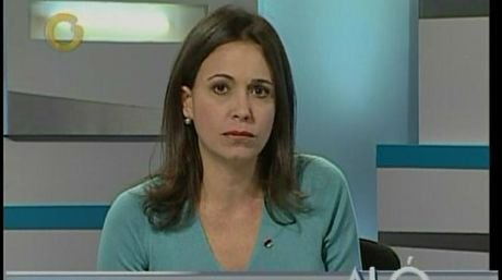 """Machado defended herself on Globovision's Aló Ciudadano program, claiming she was the victim of a """"totalitarian regime"""" (Globovision)"""