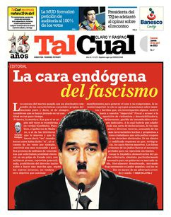The front page of Tal Cual on 18 April 2013, comparing Maduro to Adolf Hitler (Tal Cual)