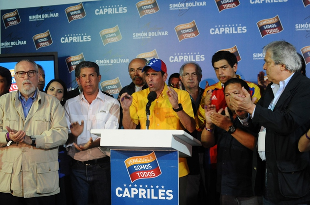 "Speaking after the National Electoral Council (CNE) declared Nicolás Maduro the winner of the April 14 presidential elections, opposition candidate Henrique Capriles said, ""we are not going to recognize the results until every vote is counted, one by one."" After a month-long audit by the CNE confirmed Maduro's victory by a 1.6% margin, Capriles has still refused to recognize the election results (EFE)"
