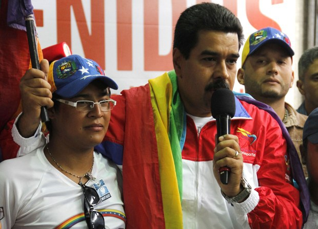 "Speaking in the Petare neighbourhood of Caracas yesterday, Maduro said the PSUV ""will never be homophobic"", after one of his legislators made comments that LGBT groups have said are discriminatory (Prensa MIJ)"