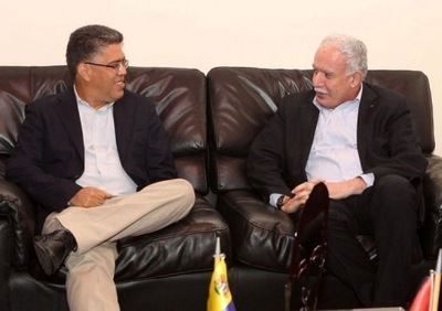 Venezuelan foreign minister Elias Jaua and his counterpart for the Palestinian Authority Riyah al-Malki (AFP)
