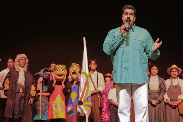 Maduro at the Teresa Carreno Theatre in Caracas launching the Children's and Youth Theatre Movement yesterday (Prensa Presidencial)