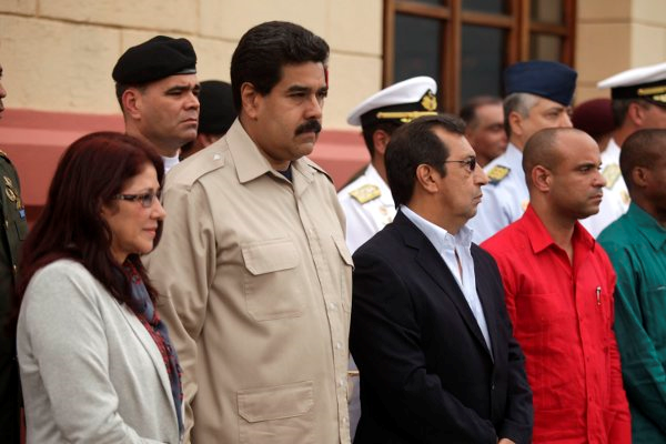 The event at the Barracks of the Mountain. From left to right, Cilia Flores, an important figure in Venezuelan political life and Nicolas Maduro's wife, Nicolas Maduro, and Adan Chavez, Hugo Chavez's brother and current governor of Barinas state. (Sibci)