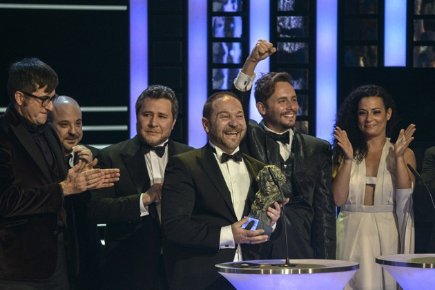 """""""This is the first Goya for Venezuela!"""" explained the film's Venezuelan director Miguel Ferrari (centre) in his acceptance speech in Madrid on Sunday night. (Pedro Amestre / AFP)"""