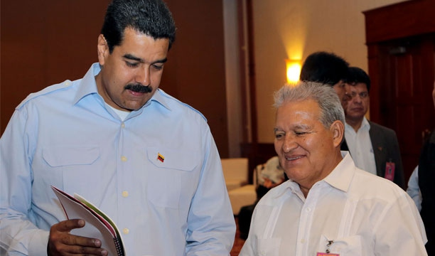 El Salvador's Salvador Sanchez Cerén met with Venezuela's president Nicolas Maduro last July, in Nicaragua, while Cerén was running for President. Cerén narrowly won the presidential election of El Salvador last Sunday. (El Mundo of El Salvador)