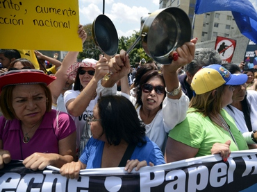 An opposition march in Caracas on Sunday (AFP)