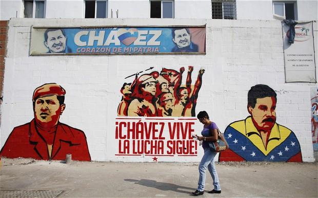 Mural of Hugo Chavez and Nicolas Maduro, in Caracas. (Reuters)