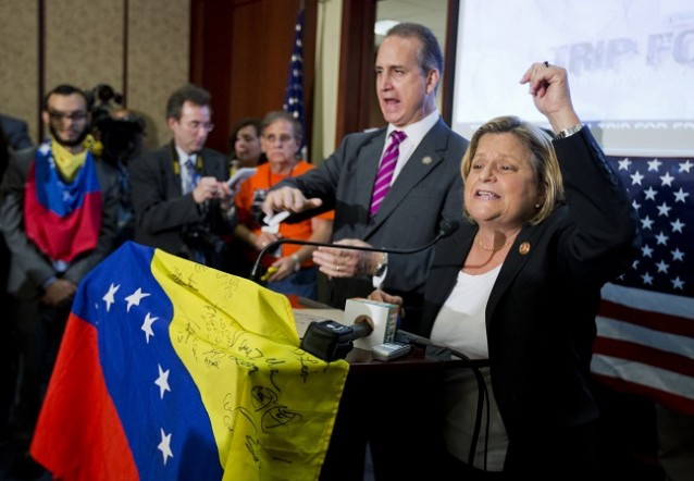 Rep. Ileana Ros-Lehtinen, R-Fla., right, and Rep. Mario Diaz-Balart, R-Fla., speaking at a May 9 rally on Capitol Hill to push for sanctions on Venezuela (AP)
