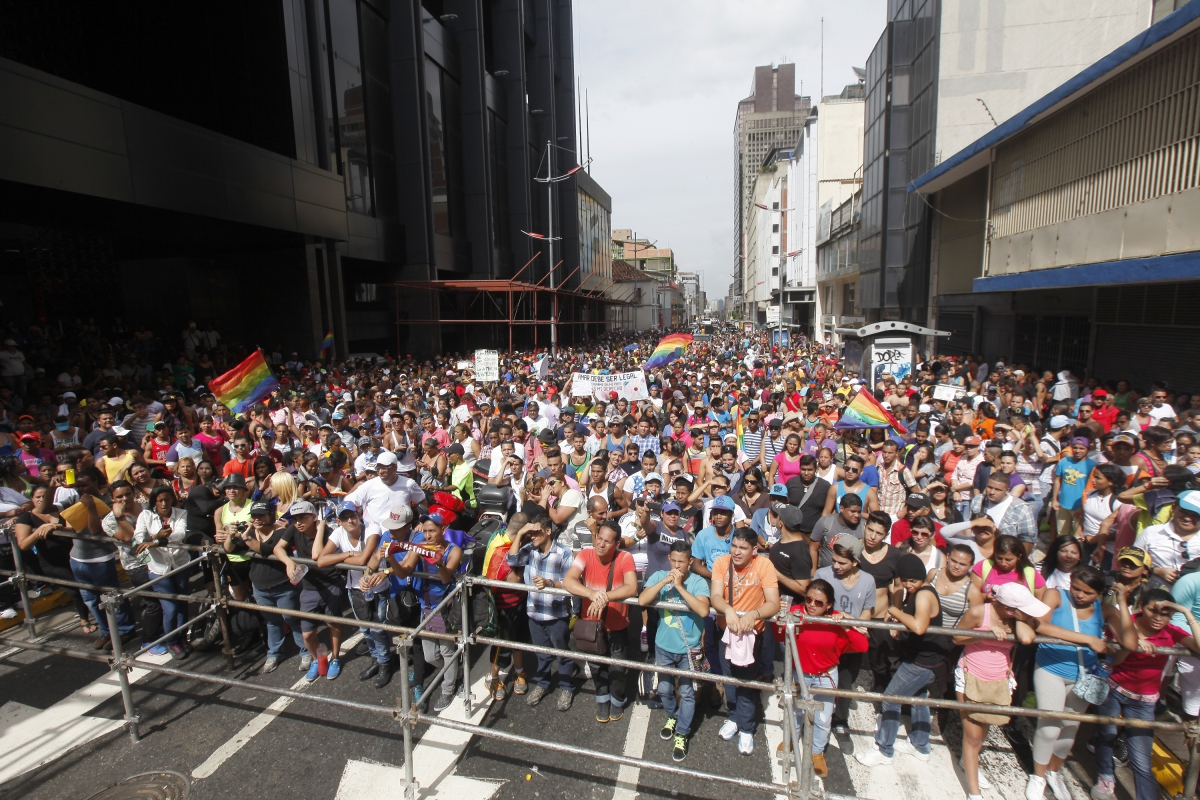 Pride marchers gather to see the cultural events planned for the day, including musicians and other performers. (SIBCI)