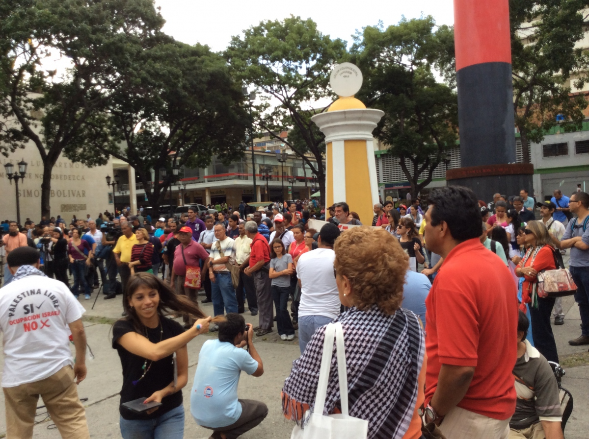 Part of the crowd that gathered for a rally in downtown Caracas to demand cessation of Israeli bombing of Gaza and an end to all commercial, diplomatic and political ties with Israel (Arlene Eisen/Venezuelanalysis)