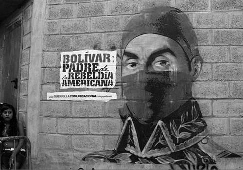 "Venezuelan street art in Caracas by Guerrilla Comunicacional proclaims, ""Bolivar"