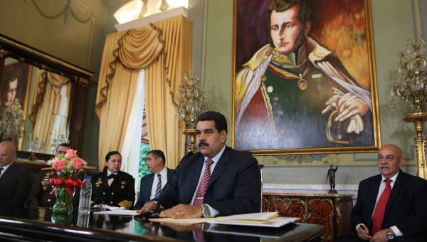 The president of Venezuela, Nicolas Maduro, during his speech, in the Miraflores Palace. (Photo: AVN)