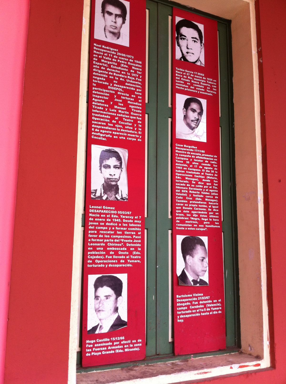 Photos of political prisoners detained at San Carlos between 1960-1979,  on a wall of the former prison in an exhibit maintained by a civic association of former combatants and political prisoners. (all photos credt of Venezuelanalysis.com / Cory Fischer - Hoffman)