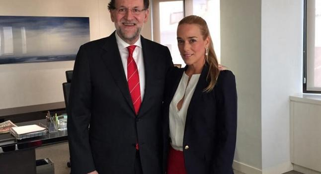 Spanish president Mariano Rajoy meets with Lilian Tintori, wife of Leopoldo Lopez. (Mariano Rajoy- Facebook)