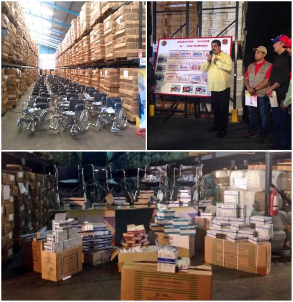 Thousands of tons of medical equipment were found in a warehouse in Tejería in the central state of Aragua.  Government officials say the supplies were bound for Colombia, as part of the ongoing contraband of basic goods and medical items being trafficked outside of Venezuela's borders to be sold for profit.  (Correo del Orinoco)
