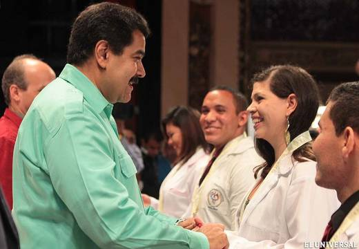 """""""It's going to be a great university to train doctors, nurses and nutritionists, so that millions of youths come to be educated. The university has been created and begins its functions immediately,"""" said Maduro during the graduation ceremony of 40 community doctors in a Caracas theatre. (El Universal)"""