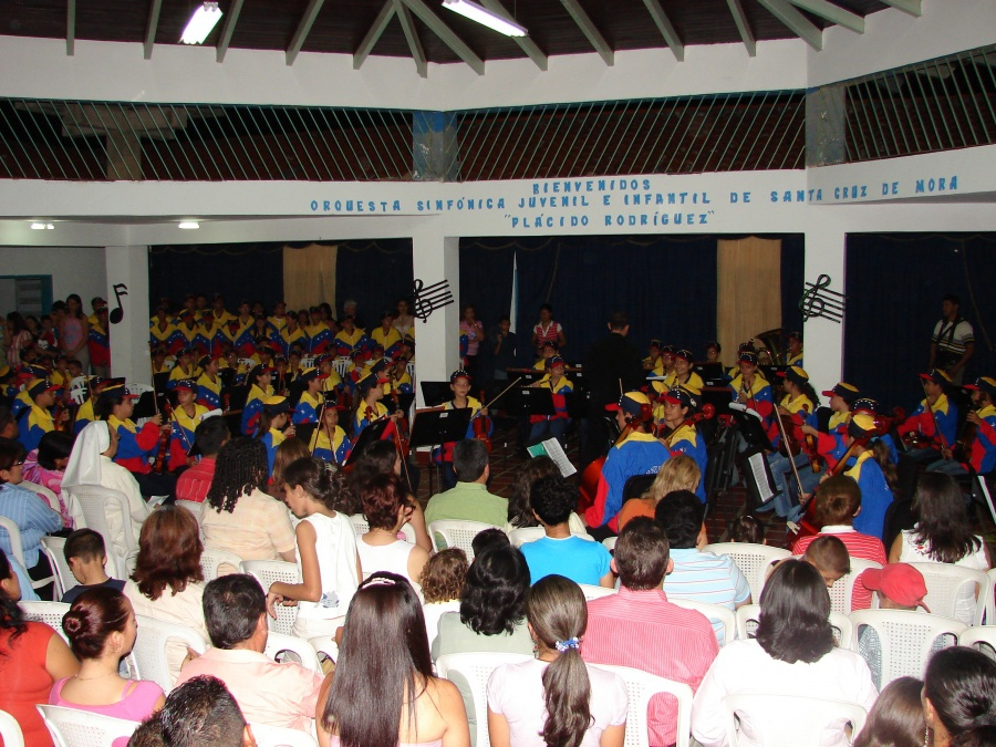 An open concert in 2011 at the Nucleo of Santa Cruz in the Andean state of Merida, to the west of Venezuela. It is one of 180 centres of learning, teaching and performance, or nucleos, that form Venezuela's national youth orchestra system, known internationally as El Sistema. (Hannah Bowers)