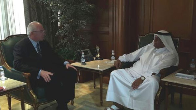 "Earlier today Ramirez met with Qatar's prime minister, Abdullah Bin Nasser Bin Khalifa Al Thani, where Ramirez said, ""We should stabilise the oil market and defend the price of crude"". @vencancilleria"