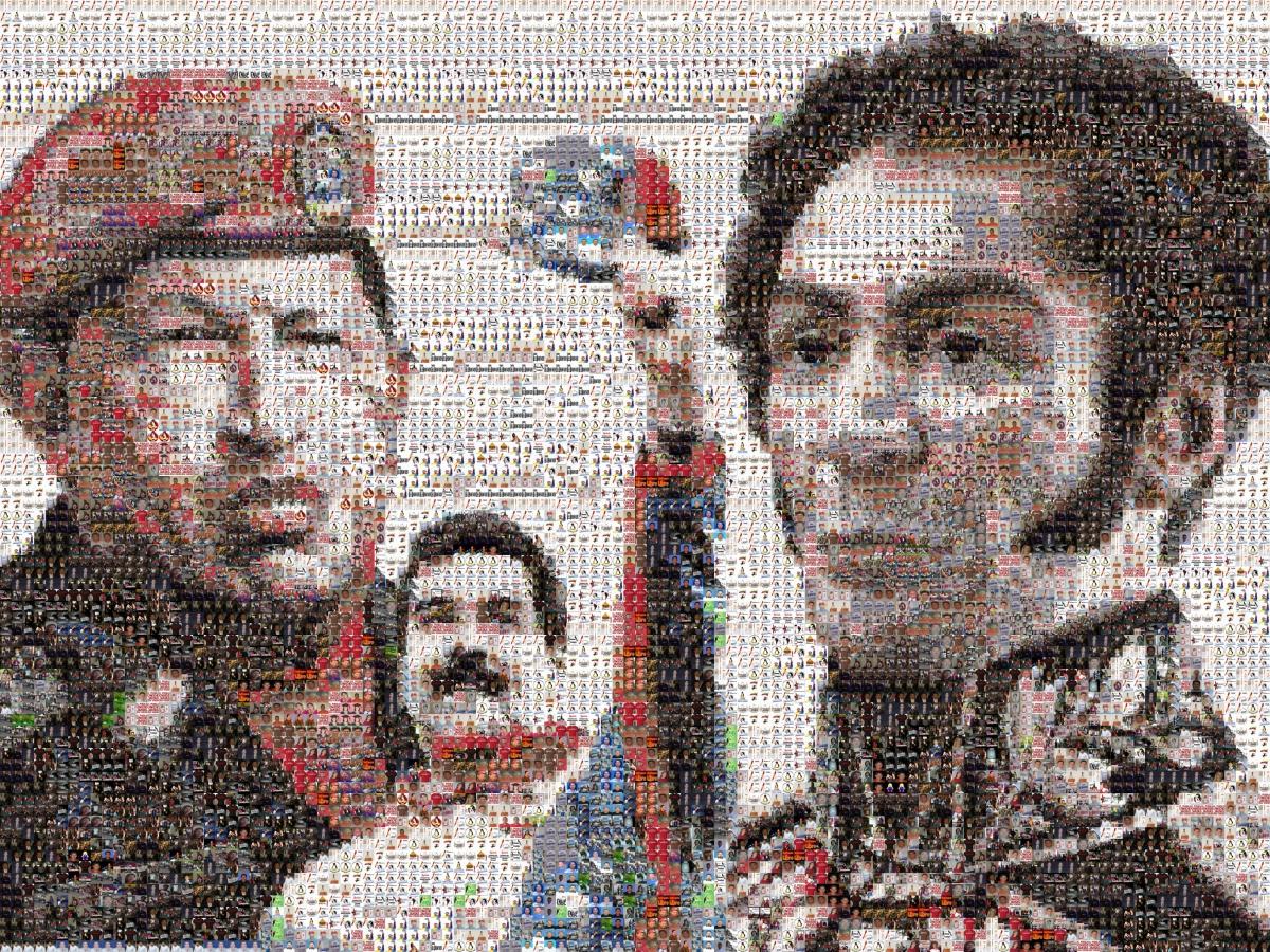 A mosaic of Hugo Chavez (left), Nicolas Maduro (centre) and 19th century independence hero Simon Bolivar (right) (ciencia con consciencia)