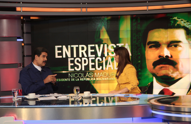 "In an interview with Telesur on Saturday Maduro claimed that actions being taken in the U.S. embassy were aimed at undermining Venezuela's stability and were ""beginning to become intolerable"". (Prensa Miraflores)"